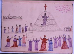 David in preghiera sul Monte - disegno allegorico